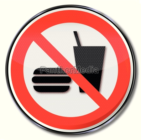 prohibition sign for dining prohibited