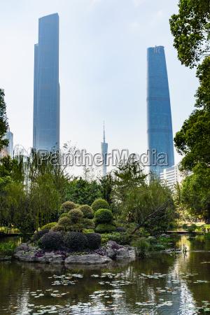 pond in park in zhujiang new