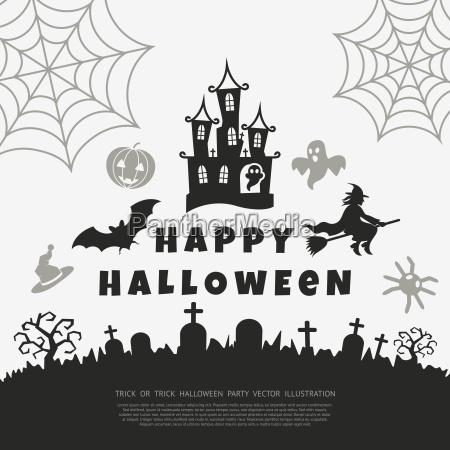 digital vector black happy halloween icons