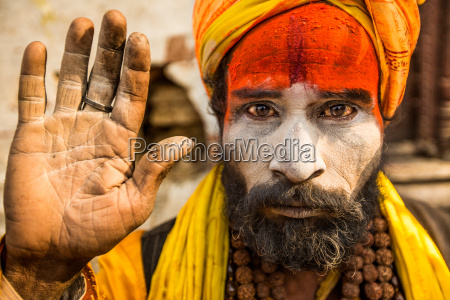 hindu holy man at pashupati temple