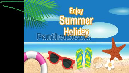 summer holiday background lifebuoy sunglasses starfish