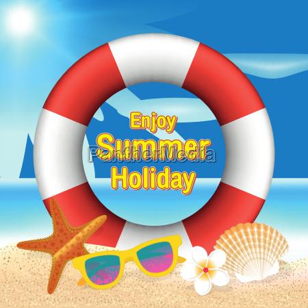 enjoy summer holiday background lifebuoy sunglasses